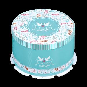 10吋圓形蛋糕盒(附扁繩.托盤)2入-仲夏花園