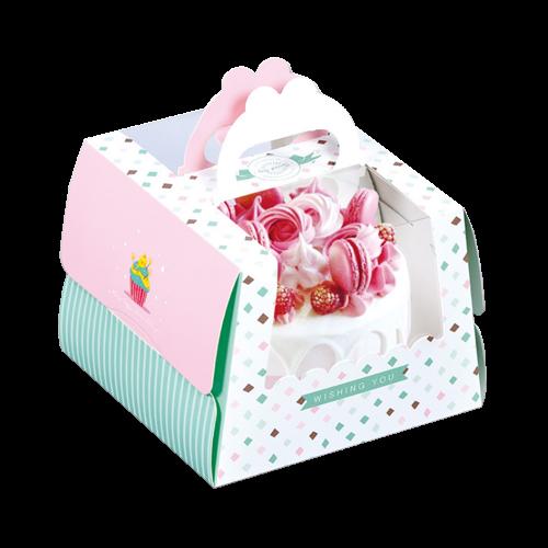 5吋開窗手提蛋糕盒(附金盤)-蜜糖