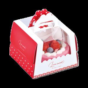 甜蜜愛-5吋開窗手提蛋糕盒(附金盤)